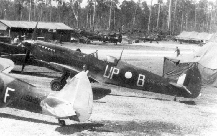 "From: http://www.aussiemodeller.com.au/ Spitfire Mk. VIII, coded UP*B, A58-492, ""Mac III"", F/O Hugh Kennare, 79 Squadron RAAF, at Pitoe Strip, Morotai, circa May/June 1945. Photo via Peter Malone."
