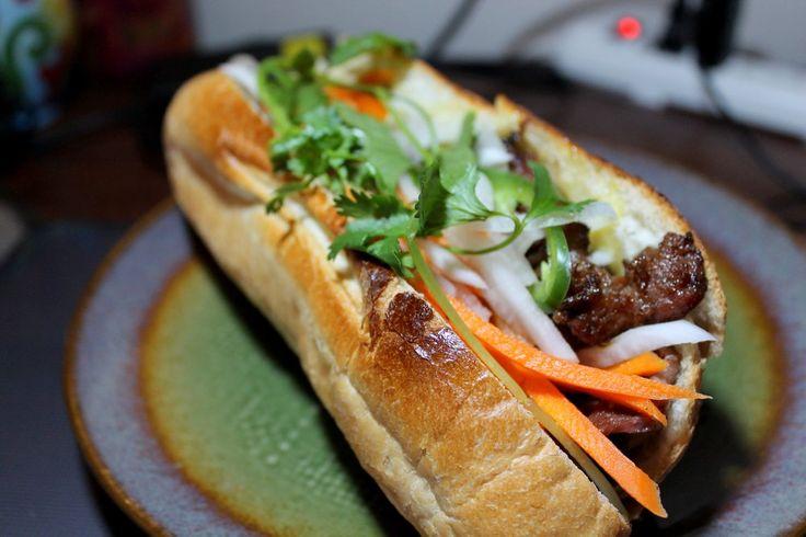Grilled Pork banh mi at Pho Viet's in the Super 88 food court at Packard's Corner, Brighton