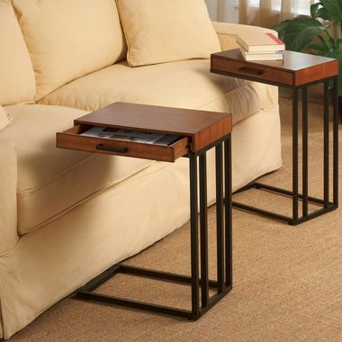 Tray table with drawer rubbed walnut for the home for Sofa table tennis