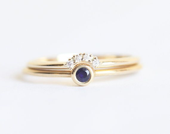 Tiny Sapphire Engagement Ring with Prong Diamond by MinimalVS. I like dainty but it's a little small for me. But love the combo of sapphire and diamond