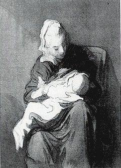 Honore Daumier, The Wet Nurse, wash drawing