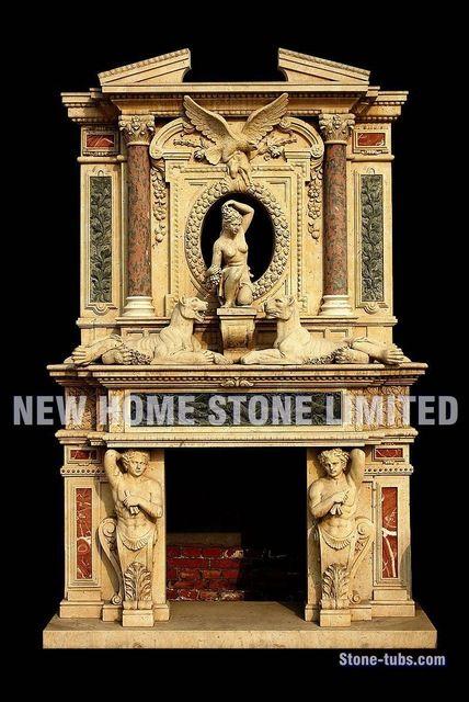 Высокий камин каминные полки планы смешать цвет мрамор львы резьба по дереву орел скульптура на большой стены камин объемного