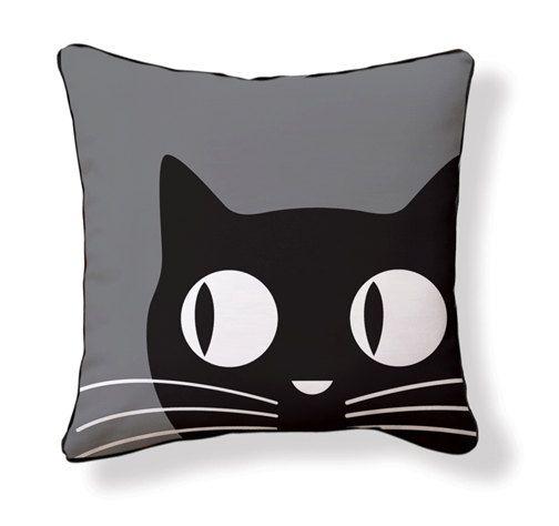 Big Eyes Cat Pillow/Cushion by nakeddecor on Etsy, $49.95