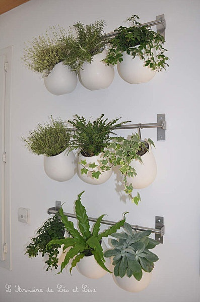 Mur vegetal ikea d co int rieur ext rieur pinterest for Support pour ustensiles de cuisine