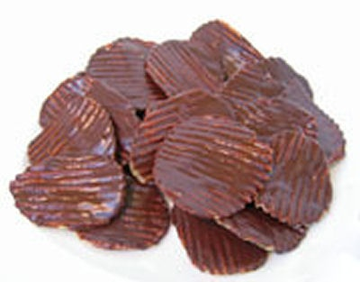 Chocolate-Covered Potato Chips  --   Potato chips are covered in bittersweet chocolate for an undeniably delicious treat.