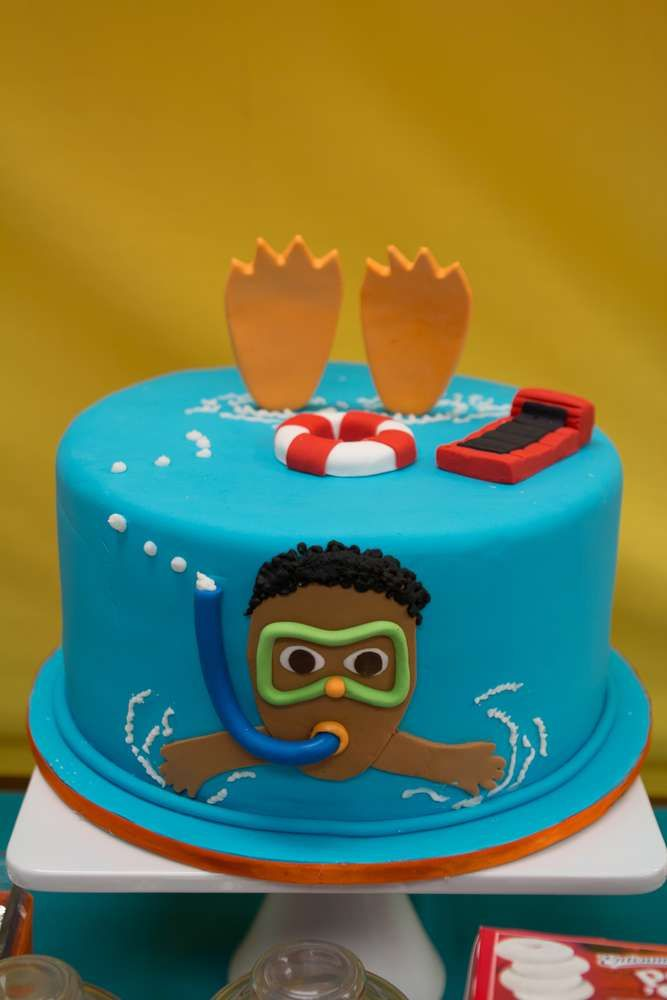 Cool cake at a pool birthday party! See more party planning ideas at CatchMyParty.com!