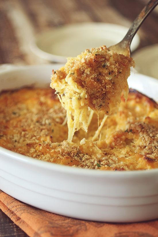 Spaghetti Squash Baked Mac & Cheese | Appetizers/Sides | Pinterest
