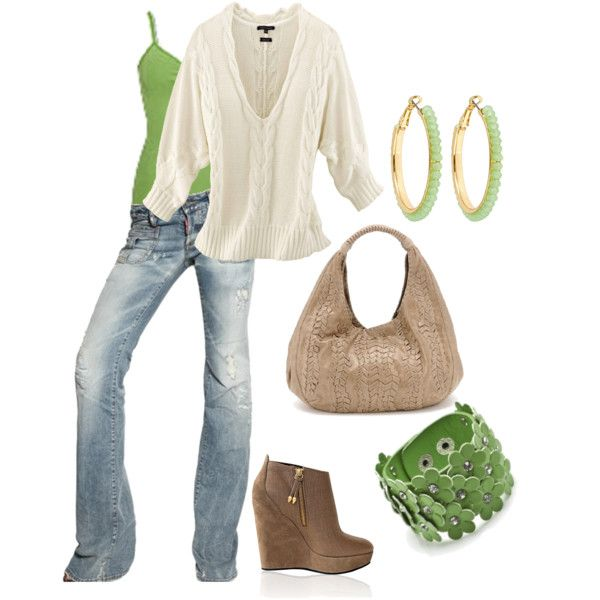 Outfit - brown flats: Thinking Spring, Sweater, Fashion, Style, Clothes, Outfit, Lime Green, Brown Flats