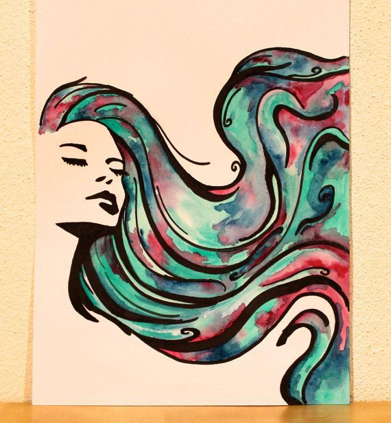 Watercolor painting and drawing Woman with wavy multi-colour hair