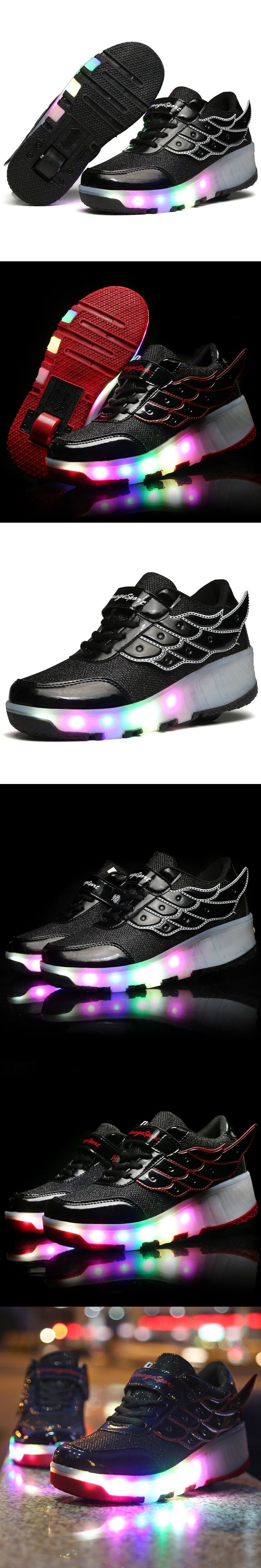 2016 Hot Brands New Arrived Children Heelys shoes Girls Boys Wing Led Light Sneakers Shoes With Wheel,Kids Roller Skate Shoes