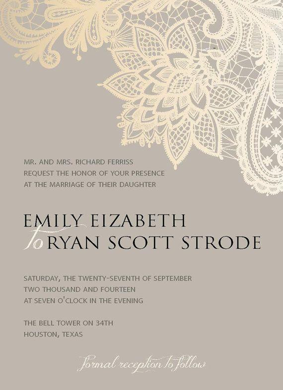 Digital Wedding Invitation - Romantic lace, formal wedding, floral, beige, gold