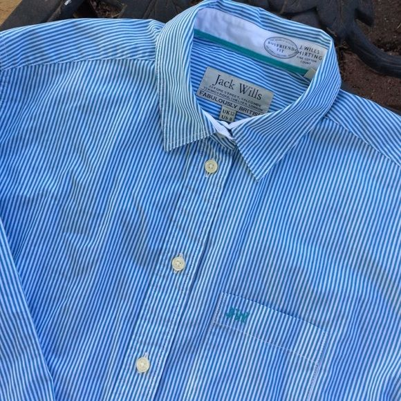Jack Wills Boyfriend Fit Pinstripe Button Down Top You'll find the Jack Wills store on Newbury Street in Boston.  This top is a beautiful baby blue and white pinstripe.  Soft cotton shirting.  In very nice like new condition. Jack Wills, fabulously British.  UK 12 U.S. size 8 Jack Wills Tops Button Down Shirts