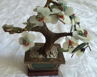 Old Estate Chinese Jade Tree Carved Stones Bronze Brass Gems Bonsai Statue