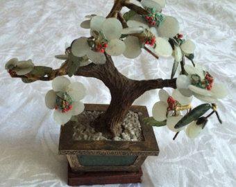 Old Estate Chinese Jade Tree Carved Stones Bronze Brass Gems Bonsai Statue