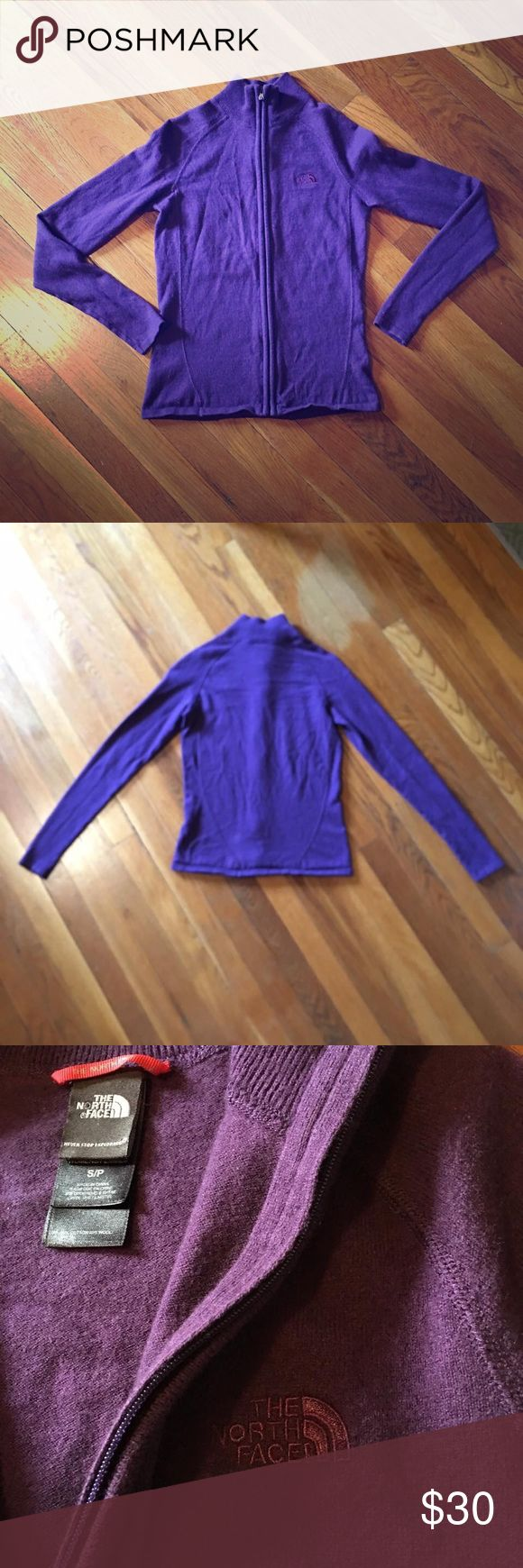 The North Face purple sweater Deep purple The North Face sweater, size women's small. Last picture shows truest color, a plumy purple. It's not as blue looking in person. Like new from a smoke and pet free environment. I'm open to trades :) 50% cotton 40% laine 10% nylon The North Face Sweaters