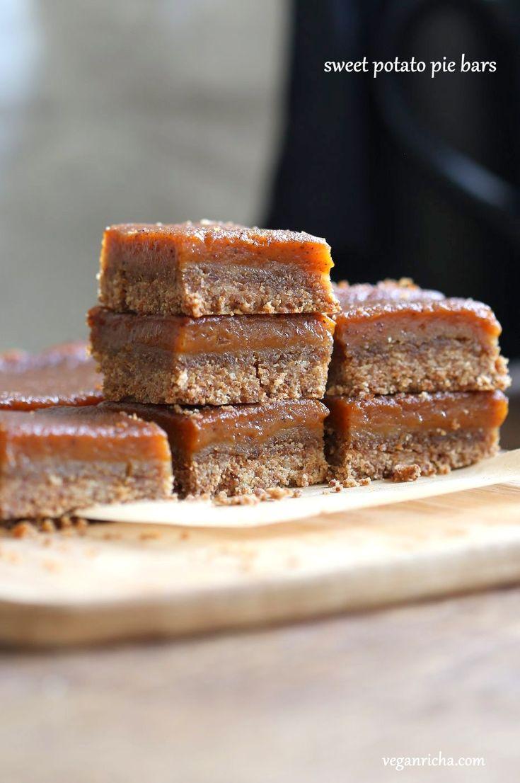 Vegan Sweet Potato Pie Bars. Spiced Sweet Potato Pie layered over cinnamony snickerdoodle crust. Make this into a pie for decadent holiday dessert. GF option | VeganRicha.com