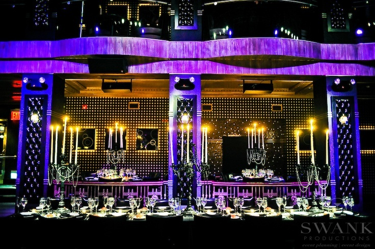 Planned, Designed & Produced by www.swankproductions.com   Deco Non Floral Wedding - Edison Ballroom NYC  #lighting #edisonballroom #deco #decor #purple