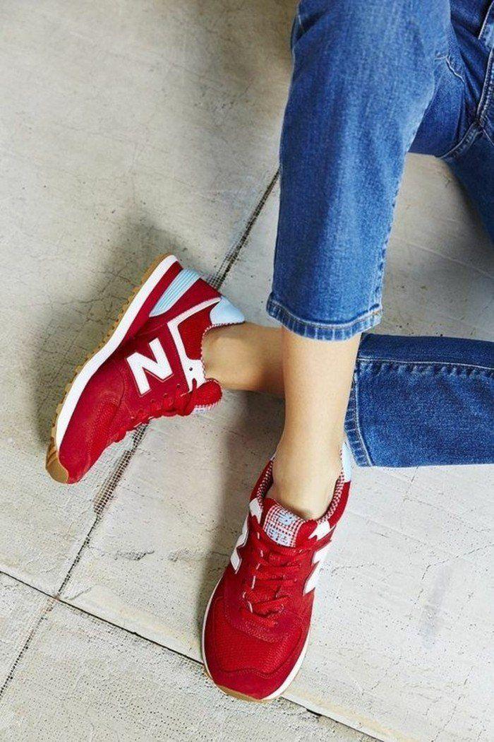 sneakers femme rouge, comment les porter avec un denim