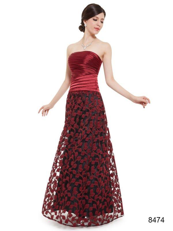 エレガントなベアトップのレッド系ロングドレス - ロングドレス・パーティードレスはGN|演奏会や結婚式に大活躍!