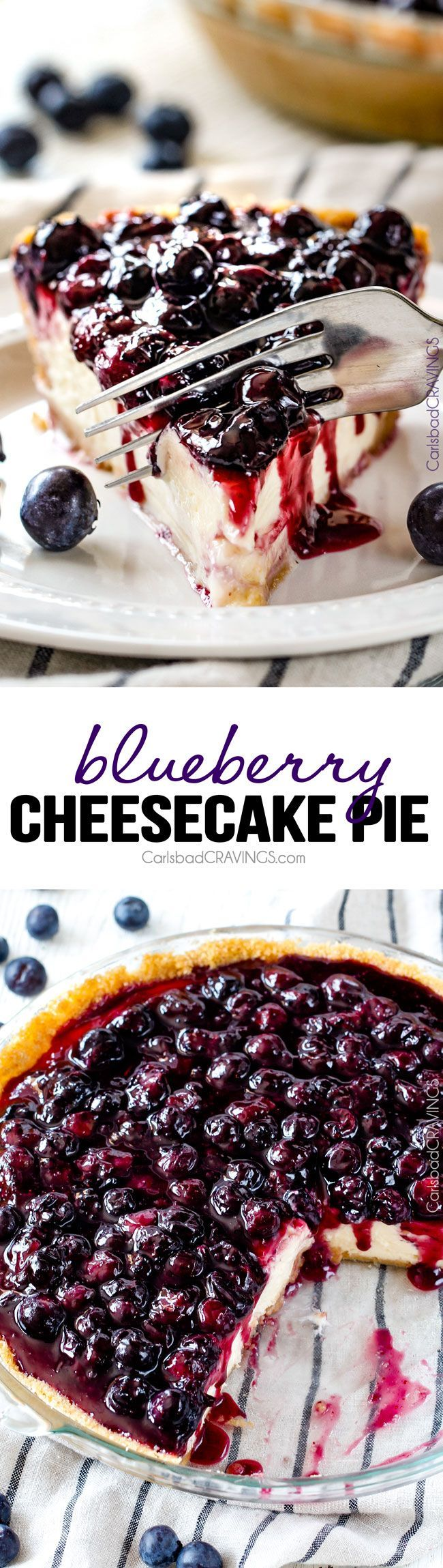 Blueberry Cheesecake Pie - This is my family's favorite summer dessert and its made extra easy in pie form! The cheesecake is creamy, rich and delicious and the homemade blueberry sauce is sweet and tangy and simply the best ever!: