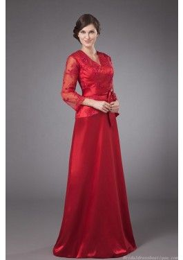 Fascinating V Neck 3 4 Long Sleeve Red Taffeta Mother Dress With Waistband Wedding DressesBride