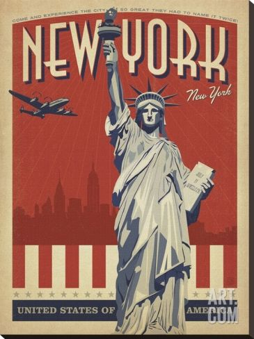 New York, NY (Statue of Liberty) Stretched Canvas Print by Anderson Design Group at Art.com