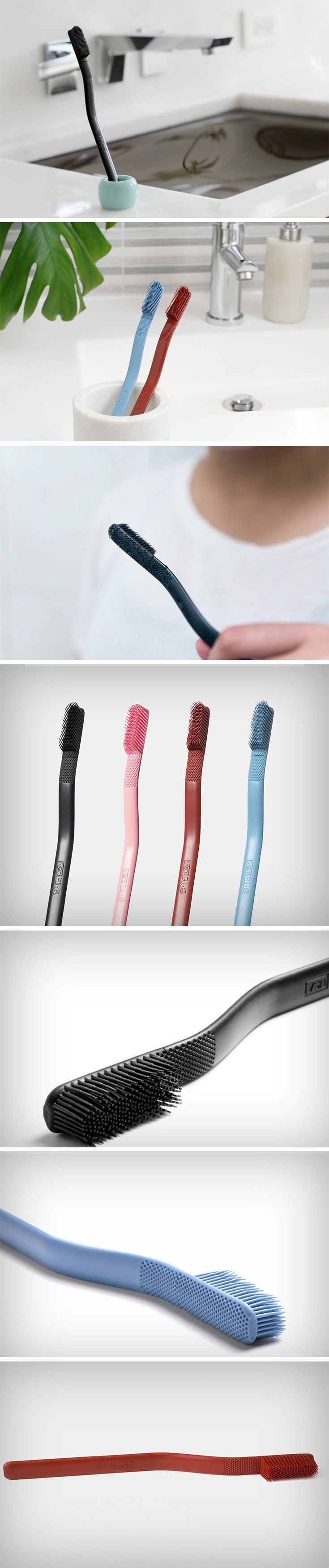 This toothbrush doesn't just look streamlined and great, it's designed to be the next step in oral hygiene. The Boie Brush comes with a single piece silicone head that has silicone bristles molded right into it! Silicone as a material has been the closest to human skin, so the bristles feel great against the teeth and don't scrub away the protective enamel layer, but instead gently and effectively cleanse your mouth.