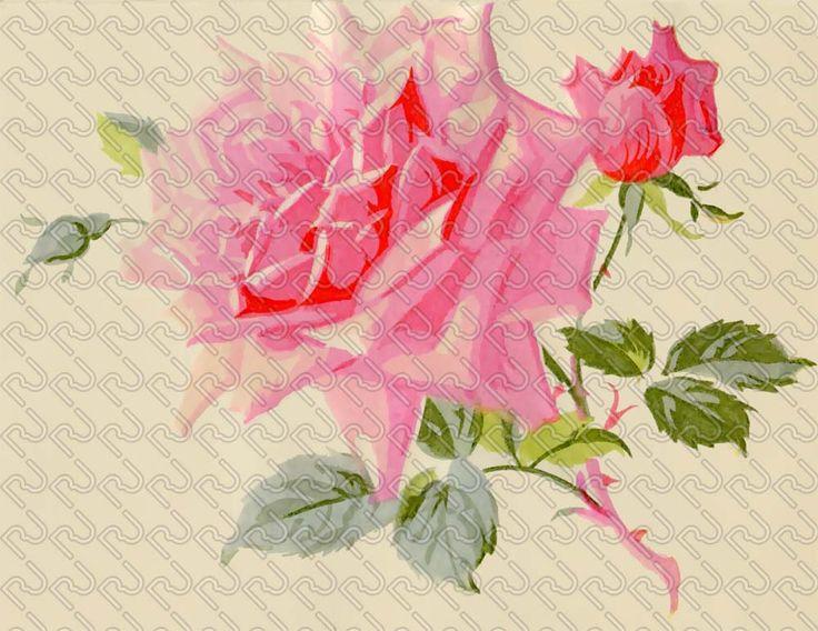 (9128) romantic rose flower watercolor painting – fiore rosa pittorica acquarellata romantica – Imagesfashiontextiles