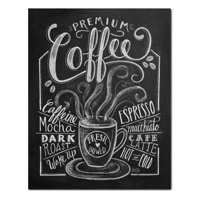 Premium Coffee Print Poster Chalk Art Wall Art, Print, Decoration - Lily & Val