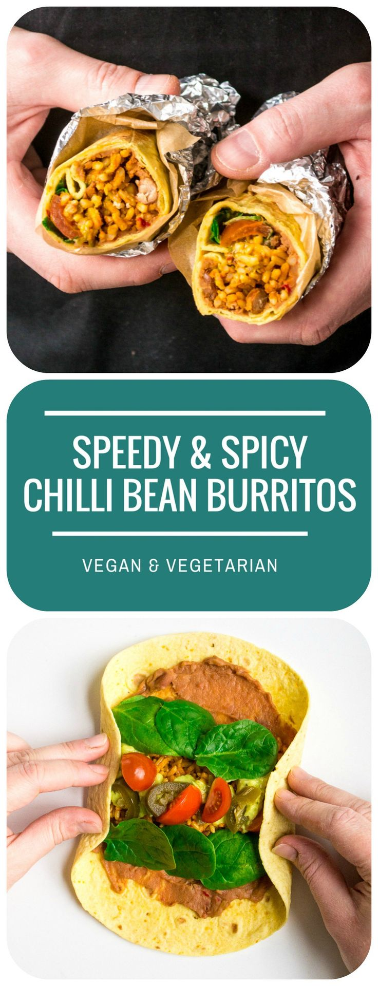 These Speedy & Spicy Chilli Bean Burritos are lip-smackingly good, with a filling that's creamy, fresh and spicy all at the same time! A quick and easy Mexican dinner - vegan and vegetarian.