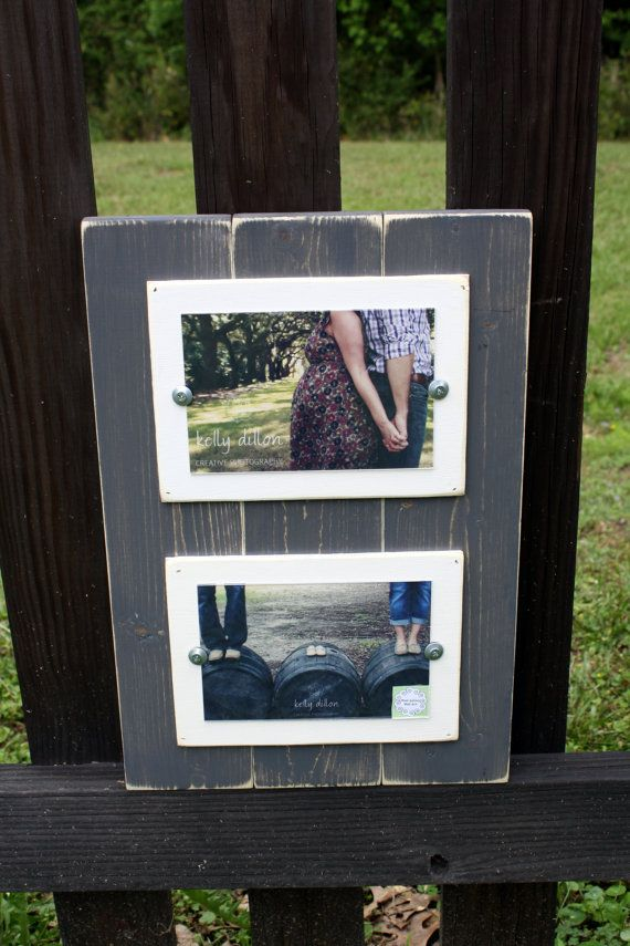 Double 4x6 Picture Frame, Beachy Frame, Cottage Picture Frame, Grey Rustic Frame on Etsy, $41.07 AUD