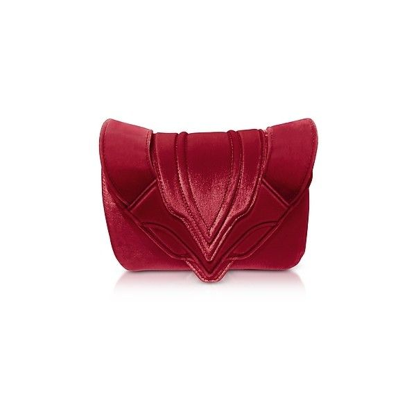 Elena Ghisellini Handbags Ribes Velvet Felix Clutch ($645) ❤ liked on Polyvore featuring bags, handbags, clutches, red, man bag, velvet purse, elena ghisellini, purse clutches and hand bags
