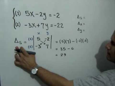 Solución de un Sistema de Ecuaciones de 2x2 por el Método de Cramer: Julio Rios explica cómo solucionar un Sistema de Ecuaciones Lineales de 2x2 usando el Método de Cramer (solución por determinantes).