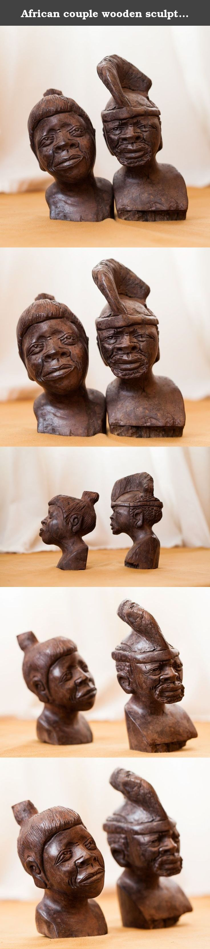 African couple wooden sculptures, Handcarved. Outstanding woodwork, Man and woman heads portraits.