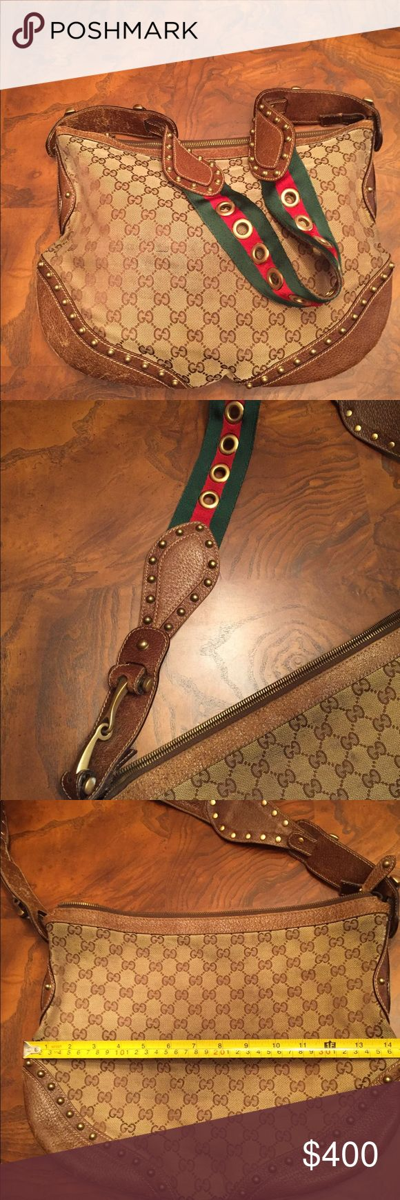 classic Gucci Pelham hobo style purse with stud Authentic. Gorgeous strap and hardware. Exterior and interior zippers work fine.  Purchased several years ago but, I don't know from which location. It is one of my absolute favorites so I carried it a bit. Please see the pictures for signs of wear. Still has life in it. I've been limiting use to special outings and still get compliments. Started carrying the more worn side next to me so the wear doesn't show as much. See pictures for…