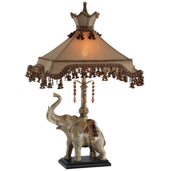 Elephant Lamp with Beaded Shade ($196) ❤ liked on Polyvore featuring home, lighting, beaded shades, beaded lamp, elephant lamp and beaded lighting