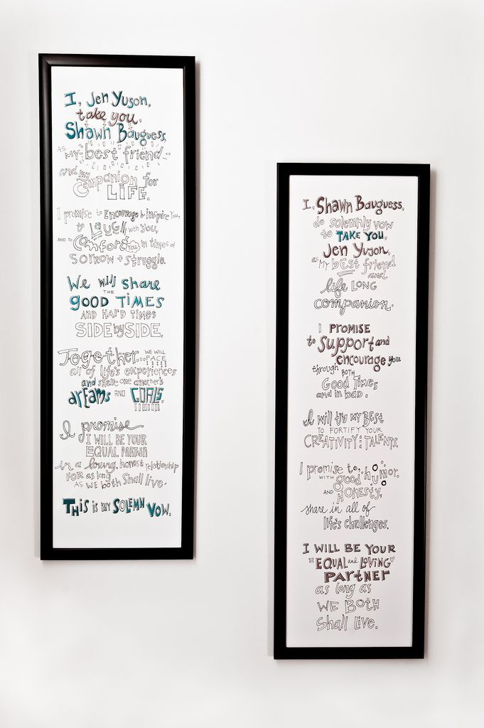 Illustrated wedding vows.