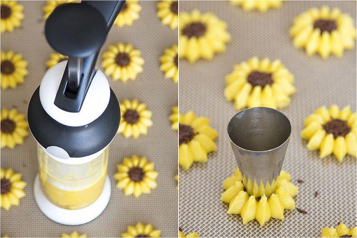 Sunflower Lemon Spritz Cookies