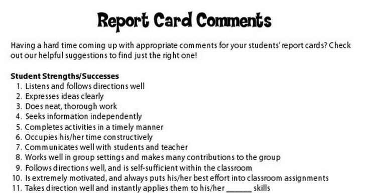 report card writing comments Language arts report card comments here are a variety of language arts report card comments to help you convey the perfect phrase.