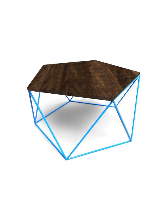 Modern Coffee Table With Solid Wood Top and Welded Steel Icosahedron Segmented Base (675.00 USD) by PWHFurniture