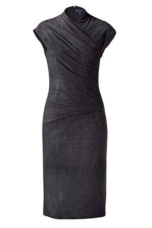 RALPH LAUREN COLLECTION  Stephanie Dark Grey Suede Dress