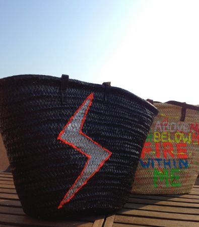 www.storymood.com super large & durable beach bag , with natural fiber and leather handles. Decorated with original handmade artwork . dimensions : 36 cm height, 57 cm width,
