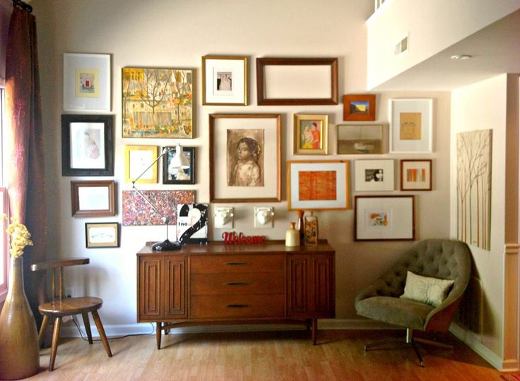 danish credenza art arrangement on wall mid century modern bent plywood swivel chair goodwill find living room wall my house pinterest chairs - Mid Century Living Rooms