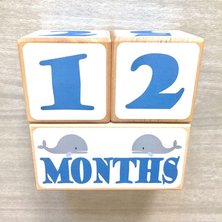 Baby Age Blocks - Whales - Nautical Nursery - Newborn - Baby Monthly Milestone - Monthly Blocks - Baby Boy Milestone - Newborn Photo Props by StickEmUpBaby on Etsy