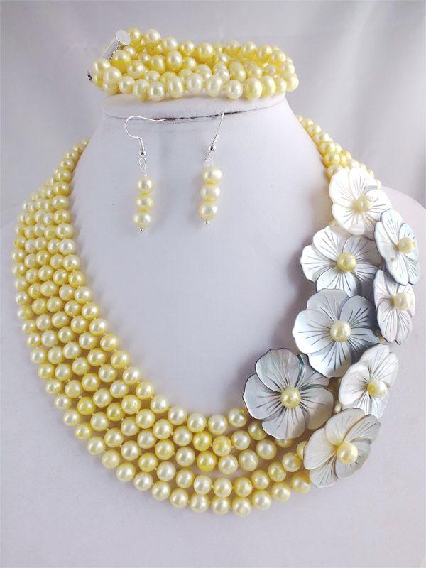 Прекрасная леди свадебные украшения, Пять рядов желтый пресноводные картофель жемчужное бусины колье лк - женщина слово оптовая продажа