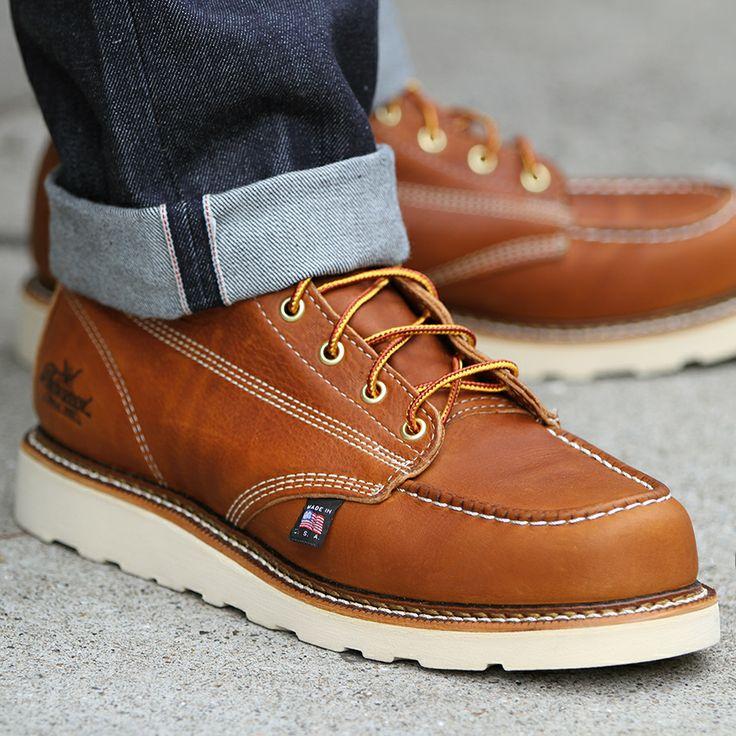 Moc toe boots, Leather shoes men