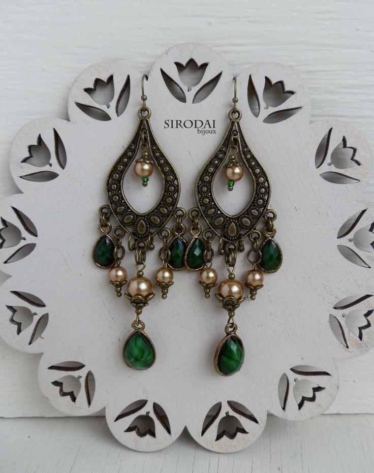 Серьги в восточном стиле. Серьги люстры, зеленые. earrings. bohojewellery. bijoux.
