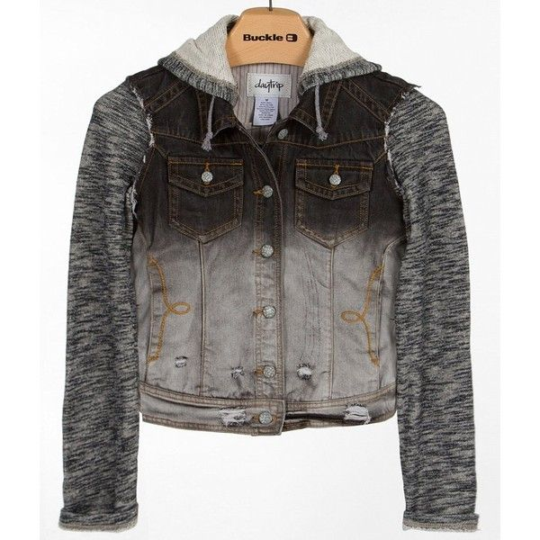Women's Distressed Jacket in Black/Grey by Daytrip. ($50) ❤ liked on Polyvore featuring outerwear, jackets, gray denim jacket, gray jean jacket, distressed denim jacket, grey denim jacket and cropped denim jacket