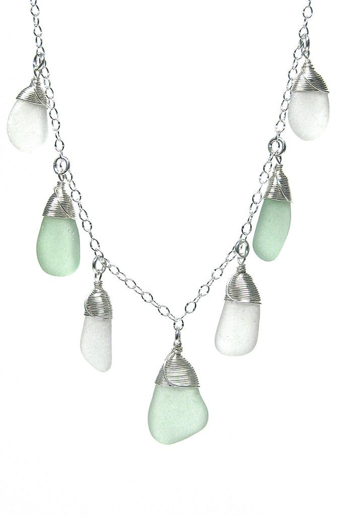 "- Made with 100% hand harvested, genuine sea glass Necklace is constructed from Sterling Silver (.925 purity), adjustable (16"" - 18"") - Designed and Manufactured in Massachusetts USA by Lita Sea Glass"