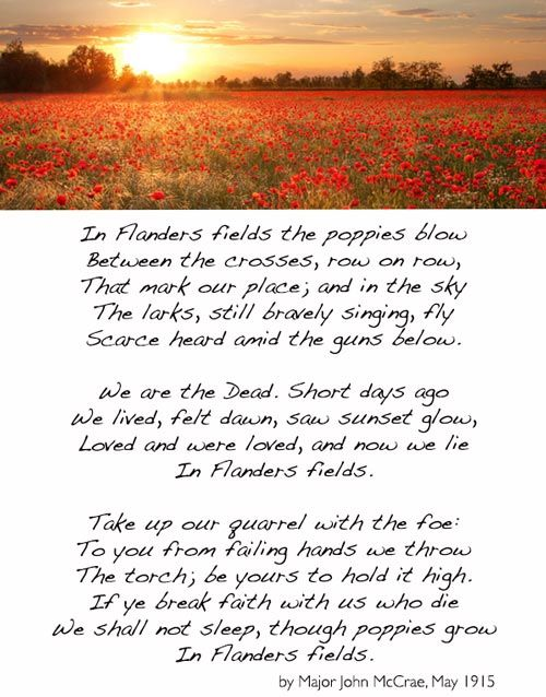 """Inspiration for """"In Flanders Fields"""" During the early days of the 2nd Battle of Ypres a young Canadian artillery officer, Lt. Alexis Helmer, was killed on 2nd May, 1915 in the gun positions near Ypres. He was serving in the same Canadian artillery unit as a friend of his, the Canadian military doctor and artillery commander Major John McCrae. It is believed that after the burial service, John began the draft for his now famous poem """"In Flanders Fields""""."""